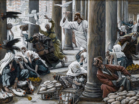 Jesus drives out all who are buying and selling in the Temple courts. He overturns the tables of the money changers and the benches of those selling doves. <br/>(Matthew 21:12-13). <br/>The Merchants Chased from the Temple ¬¬- James Tissot - Brooklyn Museum. – Slide 10