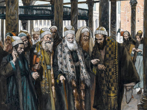 """Jesus declares to the Jewish leaders, 'It is written, """"My house will be called a house of prayer,"""" but you are making it """"a den of robbers.""""' <br/>(Matthew 21:13). <br/>The Chief Priests Take Counsel Together - James Tissot - Brooklyn Museum. – Slide 11"""