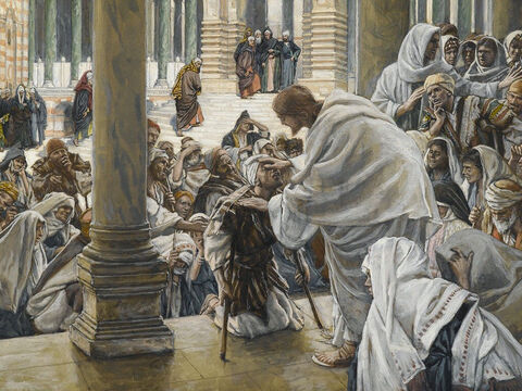 The blind and the lame come to Jesus at the temple, and He heals them. <br/>(Matthew 21:14). <br/>Jesus heals the blind and lame in the Temple - James Tissot - Brooklyn Museum. – Slide 12