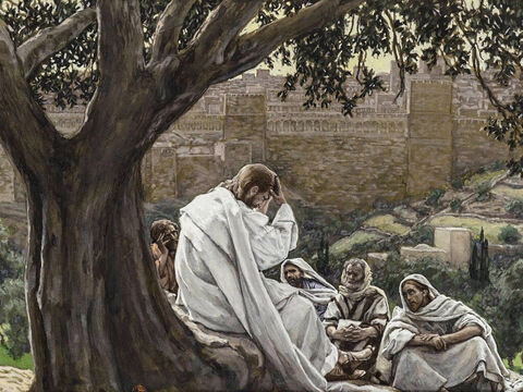 Jesus leaves the city for Bethany. Some time later He talks to His disciples about the future destruction of Jerusalem. <br/>(Luke 21:5-38). <br/>The Prophecy of the Destruction of the Temple - James Tissot - Brooklyn Museum. – Slide 14