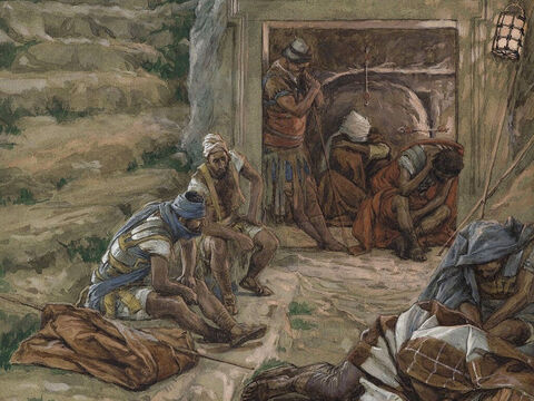 It was early in the morning on the third day since Jesus had been crucified and buried in a tomb. The tomb was guarded by soldiers. <br/>(Matthew 28:1). <br/>The Watch Over the Tomb - James Tissot - Brooklyn Museum. – Slide 1
