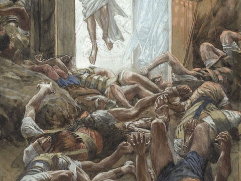 Suddenly there was a violent earthquake, as an angel of the Lord came down from heaven and rolled back the stone and sat on it. His appearance was like lightning, and his clothes were white as snow. The guards were so afraid of him that they shook and became like dead men. <br/>(Matthew 28:1-4). <br/>The Resurrection - James Tissot - Brooklyn Museum. – Slide 2