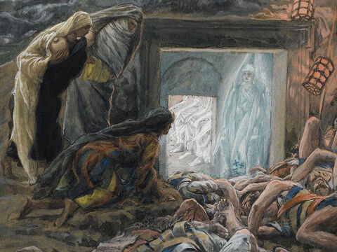Just after sunrise, Mary Magdalene, Mary the mother of James, Joanna and Salome, brought spices to anoint Jesus' body. <br/>When they arrived they saw that the large stone across the tomb entrance had been rolled away. <br/>(Mark 16:1-4). <br/>Mary Magdalene and the Women at the Tomb- James Tissot - Brooklyn Museum. – Slide 3