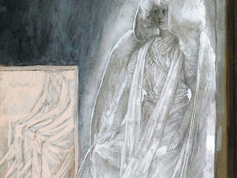 """A young man dressed in a white robe said, 'Don't be alarmed. You are looking for Jesus the Nazarene, who was crucified. He has risen! He is not here. See the place where they laid Him. Go, tell His disciples. Remember how He told you, """"The Son of Man must be delivered over to the hands of sinners, be crucified and on the third day be raised again.""""' <br/>(Mark 16:5-7, Luke 24:1-10). <br/>The Angel Seated on the Stone of the Tomb - James Tissot - Brooklyn Museum. – Slide 4"""