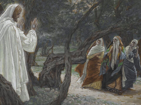 So the women hurried away from the tomb, afraid yet filled with joy, and ran to tell His disciples. Suddenly Jesus met them. 'Greetings,' He said. They fell down before Him in worship. <br/>(Matthew 28:8-9). <br/>Jesus Appears to the Women - James Tissot - Brooklyn Museum. – Slide 5