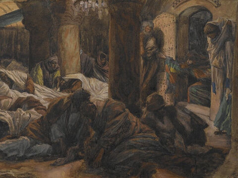 The women rushed to tell the eleven disciples what had happened. But they did not believe the women, because their words seemed to them like nonsense. <br/>(Luke 24:9-11). <br/>Mary Magdalene Runs to Tell the Apostles that the Body of Jesus is No Longer in the Tomb - James Tissot - Brooklyn Museum. – Slide 9