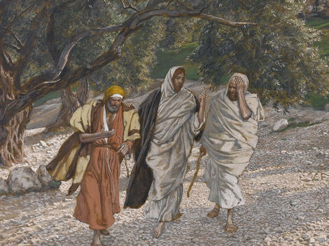 Peter and John started running to the tomb. John reached the tomb first. Simon Peter came along behind him and went straight inside. They saw the strips of burial linen and the cloth that had been wrapped around Jesus' head but His body was missing. <br/>(John 20:3-10). <br/>Peter and John Run to the Sepulcher - James Tissot - Brooklyn Museum. – Slide 10