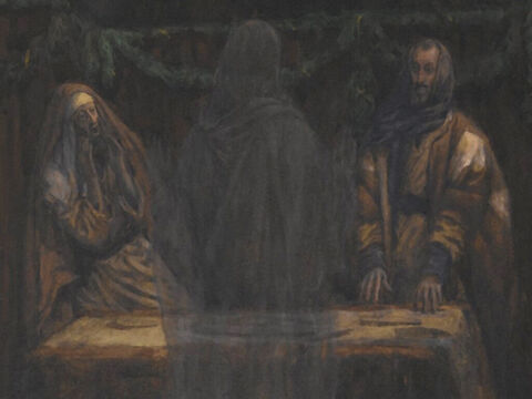 That same day two disciples were going to a nearby village called Emmaus. Jesus came and started talking with them but they did not recognize Him. <br/>Beginning with Moses and all the Prophets, He explained to them what was said in all the Scriptures about the suffering, death and resurrection of the Messiah. <br/>(Luke 24:13-27). <br/>Pilgrims of Emmaus on the Road - James Tissot - Brooklyn Museum. – Slide 11