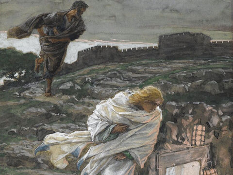 When they got to Emmaus they invited Him to stay with them. The moment Jesus took bread, gave thanks, broke it and gave it to them, they immediately recognized it was Jesus. Immediately Jesus disappeared from their sight. <br/>The two men rushed back to Jerusalem to tell the other disciples. <br/>(Luke 24:28-35). <br/>He Vanished from their Sight - James Tissot - Brooklyn Museum. – Slide 12