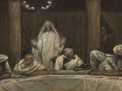 That evening when the disciples were together, with the doors locked for fear of the Jewish leaders, Jesus came and stood among them. He said, 'Peace be with you!' Then, He showed them His hands and side. The disciples were overjoyed. <br/>(John 20:19-20). <br/>Appearance of Christ at the Cenacle - James Tissot - Brooklyn Museum. – Slide 13