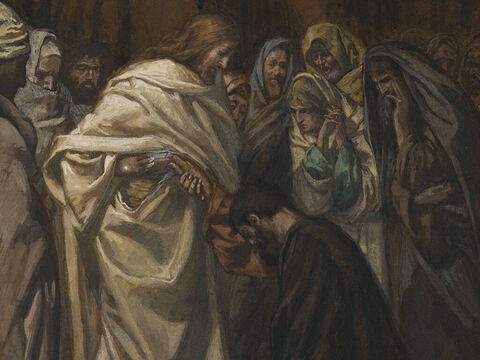 Now Thomas was not with the disciples when Jesus appeared. When they told him, 'We have seen the Lord!' he did not believe them.  <br/>'Unless I see the nail marks in His hands and put my hand into His side, I will not believe,' he said. <br/>A week later when the disciples were meeting in a locked room Jesus appeared again saying, 'Peace be with you.'  <br/>He told Thomas to put his finger into the wounds in His hands and side. <br/>'My Lord and my God!' he gasped. <br/>Jesus told him, 'Because you have seen me, you have believed. Blessed are those who have not seen and yet have believed.' <br/>(John 20:24-28). <br/>The Disbelief of Thomas - James Tissot - Brooklyn Museum. – Slide 14