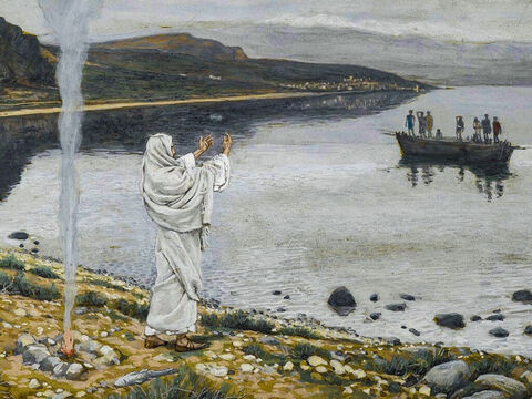 Some time later, seven of the disciples were fishing in Galilee. Early in the morning, Jesus stood on the shore, and shouted, 'Friends, haven't you any fish?' <br/>They did not recognise Jesus and replied. 'No.' <br/>Jesus told them to throw their net on the right side of the boat. When they did, they were unable to haul the net in because of the large number of fish. <br/>(John 21:1-6). <br/>Christ Appears on the Shore of Lake Tiberias - James Tissot - Brooklyn Museum. – Slide 15