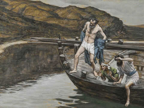 John said to Peter, 'It is the Lord!' Peter immediately wrapped his outer garment around him, jumped into the water and swam to Jesus. The disciple followed in the boat. <br/>(John 21:7-8). <br/>Peter Alerted by John to the Presence of the Lord - James Tissot - Brooklyn Museum. – Slide 16