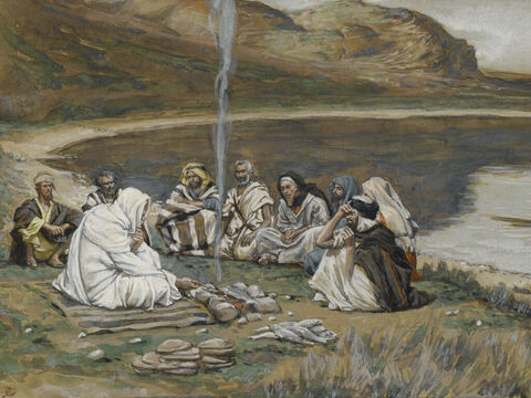 Jesus invited them to have a cooked breakfast of bread and fish. <br/>All the disciples knew it was Jesus and it was the third time they had seen Him alive. <br/>(John 21:9-14). <br/>Meal of Our Lord and the Apostles - James Tissot - Brooklyn Museum. – Slide 17