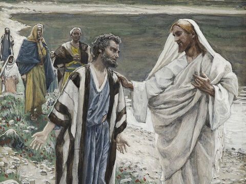 After they had eaten Jesus spoke with Peter asking three times if he loved Him. Three times Peter replied that he did. <br/>Jesus responded each time by telling Peter to feed His lambs and sheep. <br/>(John 21:15-25) <br/>Feed my Lambs - James Tissot - Brooklyn Museum. – Slide 18