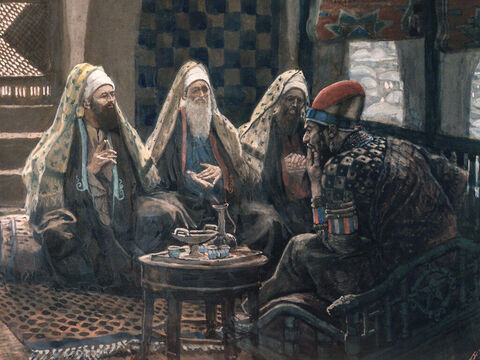 Herod secretly met with the wise men and found out from them the time the star had appeared. He told them, 'Go and search carefully for the child. When you find Him, tell me so that I, too, may go and worship Him.' <br/>(Matthew 2:7-8). <br/>The Magi in the House of Herod - James Tissot - Brooklyn Museum. – Slide 8