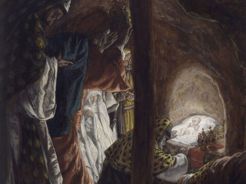 The wise men followed the star to Bethlehem where it stopped over the place where the Jesus was staying. <br/>They fell down and worshipped Him. Then they opened their treasure sacks and offered Him gifts of gold, frankincense, and myrrh. <br/>Having been warned in a dream not to go back to Herod, they left for their own country by a different road. <br/>(Matthew 2:9-12). <br/>The Adoration of the Magi - James Tissot - Brooklyn Museum. – Slide 9