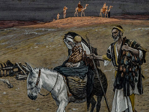After the wise men had gone, an angel of the Lord appeared to Joseph in a dream. 'Get up, take the child and His mother, and flee to Egypt. Stay there until I tell you, because Herod intends to search for the child and kill Him.' So that night, Joseph took Mary and Jesus and headed for Egypt. <br/>(Matthew 2:13-15). <br/>The flight into Egypt - James Tissot - Brooklyn Museum. – Slide 10