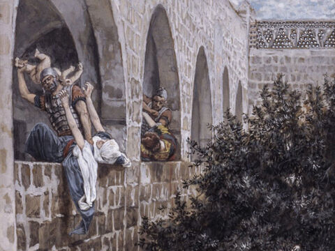 Herod flew into a rage when he learned that he had been tricked by the wise men, so he ordered the execution of all the male children in Bethlehem and surrounding regions, who were two years old and younger. <br/>(Matthew 2:16-18). <br/>The Massacre of the Innocents - James Tissot - Brooklyn Museum. – Slide 11