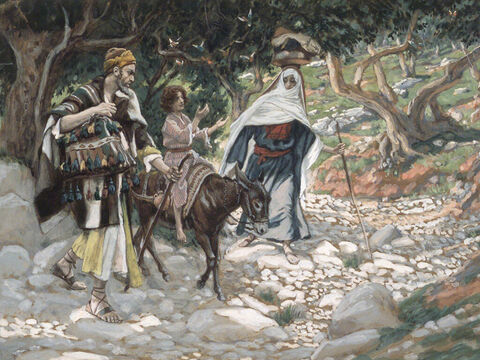 Joseph got up, took the child and His mother, and went back to the land of Israel. When he heard that Archelaus was ruling over Judea in place of his father Herod, he was afraid to go there. So he left for the region of Galilee and settled in a town called Nazareth. <br/>(Matthew 2:21-22). <br/>The Return from Egypt - James Tissot - Brooklyn Museum. – Slide 13