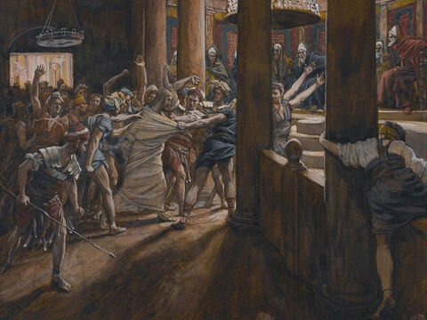 Then the mob led Jesus to the home of Caiaphas, the high priest, where all the Jewish leaders were gathering. <br/>(Matthew 26:57, Mark 14:53, Luke 22:54). <br/>The Tribunal of Annas - James Tissot - Brooklyn Museum. – Slide 1