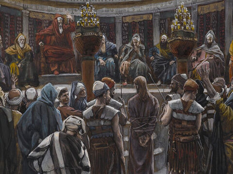 Annas and Caiaphas found many false witnesses ready to accuse Jesus, but they contradicted each other. <br/>(Matthew 26:59-61, Mark 14:55-56).  <br/>The Morning Judgment - James Tissot - Brooklyn Museum. – Slide 3