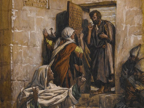 Meanwhile, Peter came to the courtyard of the high priest's house and went in. A girl at the gate said to him, 'You were with Jesus, for both of you are from Galilee.' <br/>But Peter denied it loudly and angrily. 'I don't even know what you are talking about.' <br/>(Matthew 26:69-70, Mark 14:54, Mark 14:66-68, Luke 22:56-58, John 18:16-17). <br/>The First Denial of Saint Peter - James Tissot - Brooklyn Museum. – Slide 4