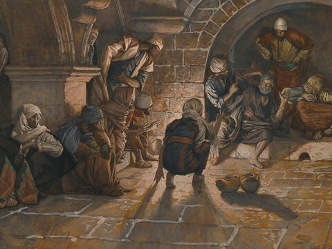 A girl noticed Peter and said to those standing around, 'This man was with Jesus.'  <br/>Again Peter denied it, this time with an oath. 'I don't even know the man,' he lied. <br/>(Matthew 26:71-72, Mark 14:69-70, Luke 22:56-58, John 22:26). <br/>The Second Denial of Saint Peter - James Tissot - Brooklyn Museum. – Slide 8