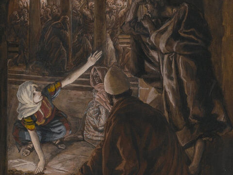A third time Peter was accused, 'We know you are one of his disciples, for we can tell by your Galilean accent.' <br/>Peter began to curse and swear. 'I don't even know the man,' he lied. <br/>(Matthew 26:73-74, Mark 14:69-71, Luke 22:59-60, John 22:26-27). <br/>The Third Denial of Peter - James Tissot - Brooklyn Museum. – Slide 9