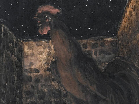 Immediately the cock crowed. At that moment Jesus turned and looked at Peter. <br/>(Matthew 26:74, Mark 14:72, Matthew 14:61, John 22:27). <br/>The Cock Crowed - James Tissot - Brooklyn Museum. – Slide 10