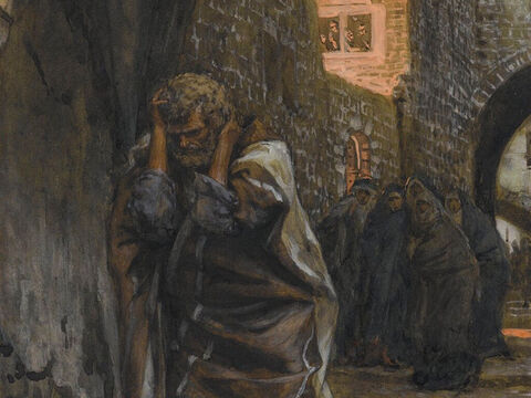 Then Peter remembered what Jesus had said, 'Before the cock crows, you will deny me three times.' And he went away, crying bitterly. <br/>(Matthew 26:75, Mark 14:72, John 22:27). <br/>The Sorrow of Saint Peter - James Tissot - Brooklyn Museum. – Slide 11