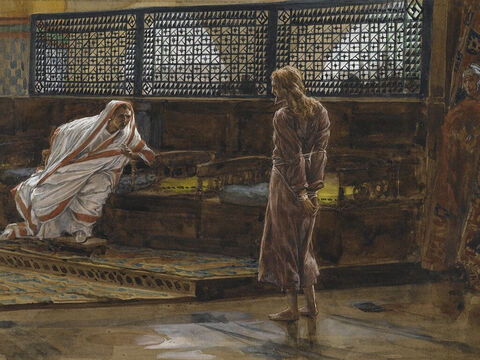 Pilate went back into the palace and called for Jesus to be brought to him. 'Are you the King of the Jews?' he asked him. <br/>Jesus answered, 'I am not an earthly king. If I were, my followers would have fought when I was arrested by the Jewish leaders. But my Kingdom is not of the world.' <br/>(John 18:33-37). <br/>Jesus Before Pilate, First Interview - James Tissot - Brooklyn Museum. – Slide 2