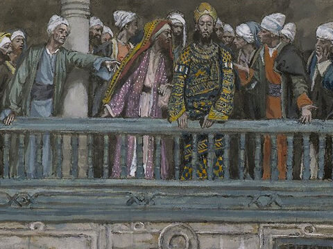 Herod asked Jesus question after question, but there was no reply. Meanwhile, the chief priests and the other religious leaders stood there shouting their accusations. <br/>(Luke 23:9-10). <br/>Jesus Before Herod - James Tissot - Brooklyn Museum. – Slide 4