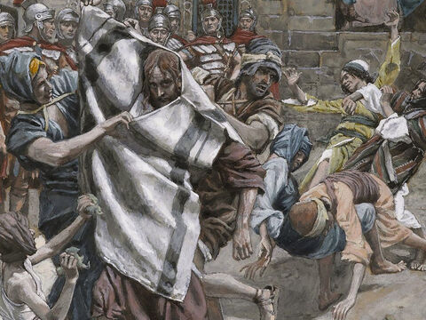 Then Herod and his soldiers began mocking and ridiculing Jesus. After putting a kingly robe on him, they sent him back to Pilate. <br/>(Luke 23:11). <br/>Jesus Before Herod - James Tissot - Brooklyn Museum. – Slide 5