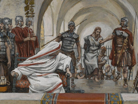 That day Herod and Pilate, enemies before, became good friends. Pilate called together the chief priests and other Jewish leaders, along with the people, and announced his verdict: <br/>(Luke 23:12-13). <br/>Jesus Led from Herod to Pilate - James Tissot - Brooklyn Museum. – Slide 6