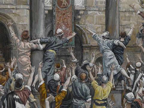 Once more, for the third time, Pilate demanded, 'Why? What crime has he committed? I have found no reason to sentence him to death. I will therefore scourge him and let him go.' But they shouted louder and louder for Jesus' death, and their voices prevailed. <br/>(Luke 23:21-23). <br/>Let Him Be Crucified - James Tissot - Brooklyn Museum. – Slide 10