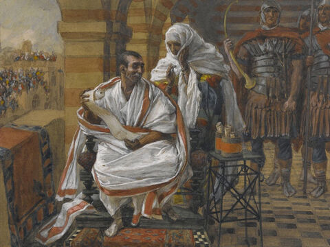 As Pilate was presiding over the court, Pilate's wife sent him this message: 'Leave that good man alone, for I had a terrible nightmare concerning him last night.' <br/>(Matthew 27:19). <br/>The Message of Pilate's Wife - James Tissot - Brooklyn Museum. – Slide 11