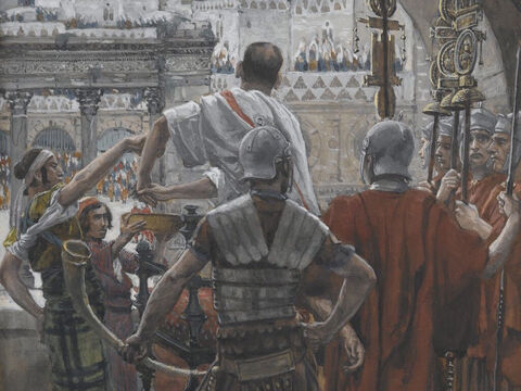 When Pilate saw that he wasn't getting anywhere and that a riot was developing, he sent for a bowl of water and washed his hands before the crowd, saying, 'I am innocent of the blood of this good man. The responsibility is yours!' <br/>The mob yelled back, 'His blood be on us and on our children!' <br/>(Matthew 27:24-25). <br/>Pilate Washes His Hands - James Tissot - Brooklyn Museum. – Slide 12