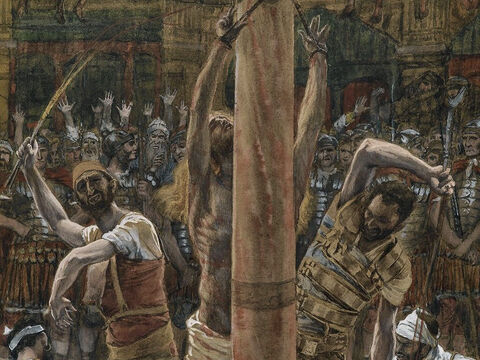 Then Pilate released Barabbas to them and had Jesus whipped. <br/>(Matthew 27:26). <br/>The Scourging on the Back - James Tissot - Brooklyn Museum. – Slide 13