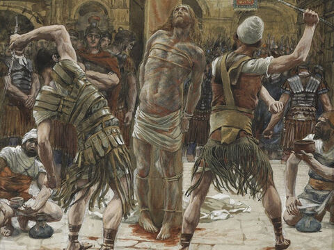 The whip used had leaded thongs. <br/>(Luke 23:16). <br/>The Scourging on the Front - James Tissot - Brooklyn Museum. – Slide 14