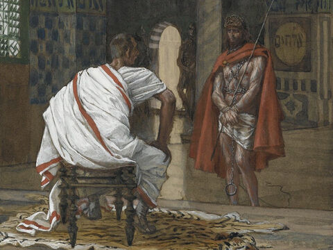 Jesus was brought before Pilate again. Pilate then went outside and sat down at the judgment bench on the stone-paved platform. Jesus was shown to the crowd. <br/>(John 19:13). <br/>Jesus Before Pilate, Second Interview - James Tissot - Brooklyn Museum. – Slide 16