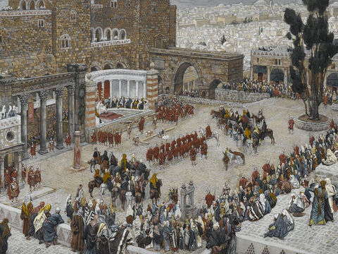 Pilate said to the Jews, 'Here is your king!' <br/>(John 19:14). <br/>Bird's-Eye View of the Forum: Jesus Hears His Death Sentence - James Tissot - Brooklyn Museum. – Slide 17