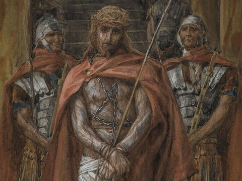 'Away with him,' they yelled. 'Away with him—crucify him!' <br/>(John 19:15). <br/>Jesus Leaves the Praetorium - James Tissot - Brooklyn Museum. – Slide 18