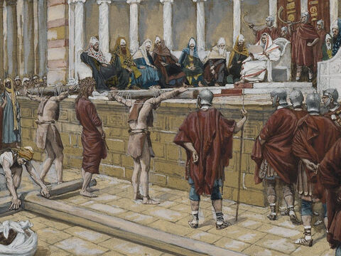 'What? Crucify your king?' Pilate asked. <br/>'We have no king but Caesar,' the chief priests shouted back. <br/>Then Pilate gave Jesus to them to be crucified. <br/>(John 19:15-16). <br/>The Judgment on the Gabbatha - James Tissot - Brooklyn Museum. – Slide 19