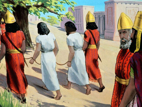 The children of Israel either escaped, were killed, or taken to Babylon to be slaves. – Slide 27