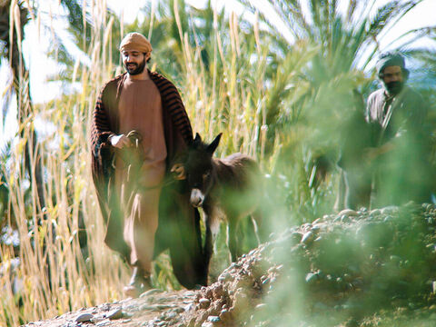 The two disciples led the colt back to Jesus. – Slide 7
