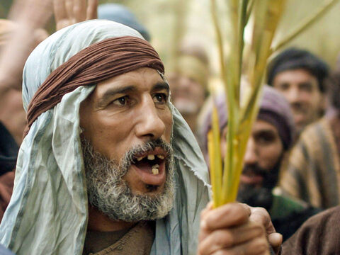 ­ People ran ahead of Jesus shouting, 'Hosanna to the Son of David!' (Hosanna means 'Save'). – Slide 11