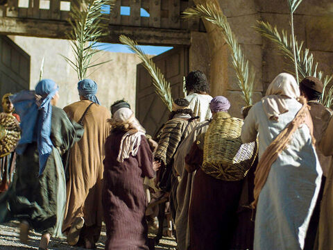 As Jesus rode into the city, people rushed to find out what the commotion was about. 'Who is this?' they asked. – Slide 18