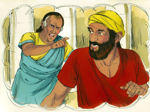 But on his way out the servant saw a fellow servant who owed him 100 silver coins. – Slide 6