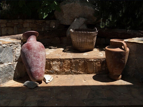 Wine jars were often stoppered with unfired clay. Sometimes olive oil would be floated on top. – Slide 23